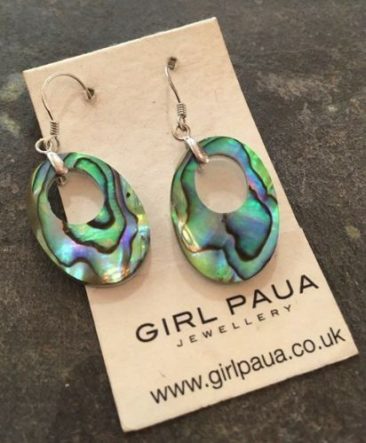 Paua Oval Hollow Earrings PE06-VH